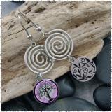 Tree of Life Purple Circle Spiral Earrings
