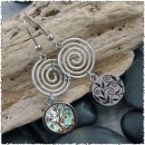 Tree of Life Fusia Circle Spiral Earrings