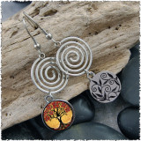 Tree of Life Yellow Spiral Earrings