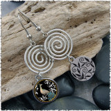 Peacock Black Circle Spiral Earrings