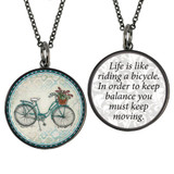 Carded Beach Bike Reversible Medium Circle Necklace