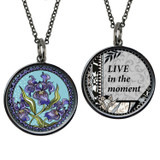 Carded Blue Flower Medium Reversible Circle Necklace