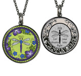 Carded Dragonfly Reversible Medium Circle Necklace
