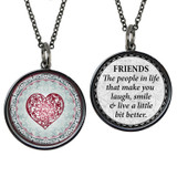 Carded Friends Heart Reversible Medium Circle Necklace