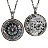Carded Grey Black Flower Reversible Medium Circle Necklace