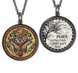 Carded Hamsa Hand Reversible Medium Circle Necklace