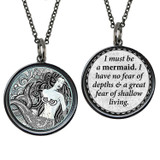Carded Mermaid Black & White Reversible Circle Necklace