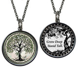 Carded Tree of Life Green Reversible Medium Circular Necklace