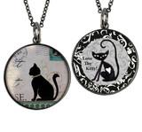 Carded Vintage Cat Reversible Medium Circular Necklace