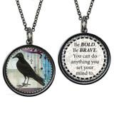 Carded Vintage Crow Reversible Medium Circular Necklace