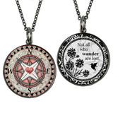 Card Compass Heart Reversible Medium Circular Necklace