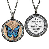 Carded Blue Monarch Butterfly Reversible Medium Circle Necklace