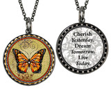 Carded Orange Monarch Butterfly Reversible Medium Circular Necklace