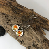 Orange Flower Circle Earring