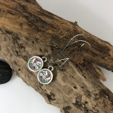 Purple Flower Circle Earring