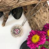 Wine Flower Brushed Circle Medium Organic Pendant