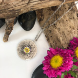 Sunflower Brushed Circle Medium Organic Pendant