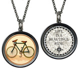 Boxed Vintage Bike Circle Reversible Pendant and Charm Set