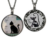 Boxed Vintage Cat Circle Reversible Pendant and Charm Set