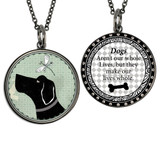 Boxed Vintage Dog Circle Reversible Pendant and Charm Set