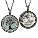 Boxed Tree of Life Circle Reversible Pendant and Charm Set