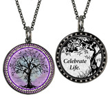 Boxed Tree of Life Purple Circle Reversible Pendant and Charm Set