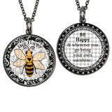 Boxed Yellow Bee Circle Reversible Pendant and Charm Set