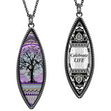 Tree of Life Purple Marquise Reversible Pendant