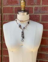 Statement Brown Leather Gemstone Necklace