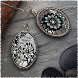 Grey Black Flower Reversible Silver Oval Pendant
