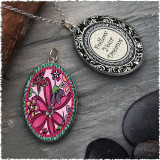 Pink Flower Reversible Silver Oval Pendant