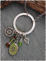 Green Brown Flower Pewter Circle of Life Pendant