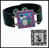 Black White Cat Double Sided Leather Cuff Bracelet
