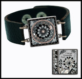 Gray Black Flower Double Sided Leather Cuff Bracelet