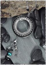 Seahorse Reversible Beaded Open Circle Charm Pendant