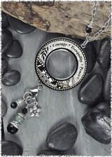 Gray Black Flower Reversible Beaded Open Circle Charm Pendant