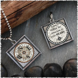 Compass Square Reversible Pendant