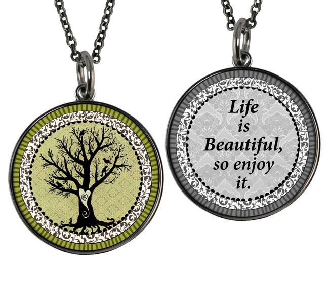 Vintage Tree of Life Green Reversible Circular Pendant