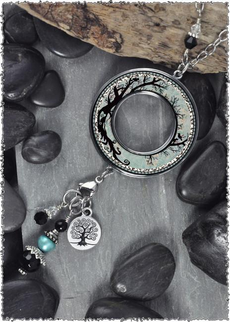Tree of Life Reversible Beaded Open Circle Charm Pendant