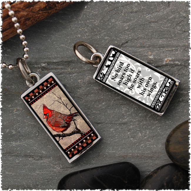 Cardinal Reversible Rectangular Pendant