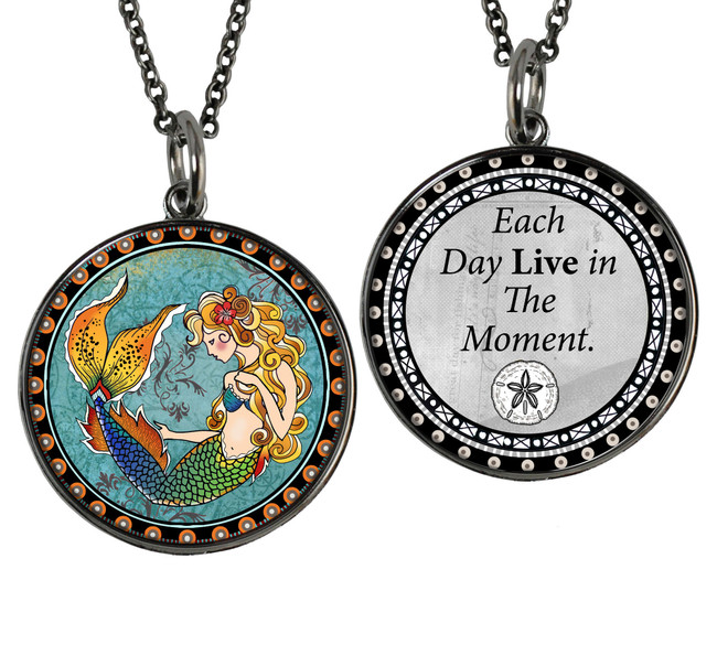 Mermaid Reversible Circular Pendant