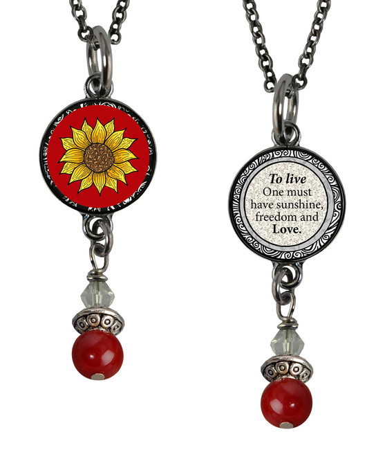 Sunflower Red Small Circular Reversible Beaded Pendant