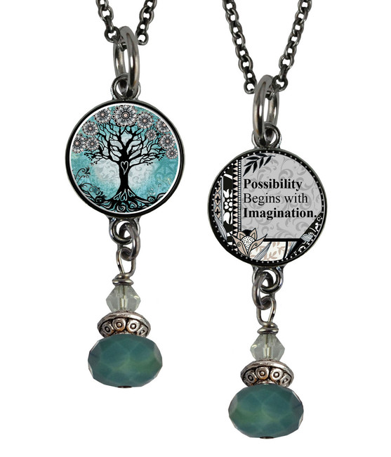 Tree of Life Teal Reversible Beaded Pendant