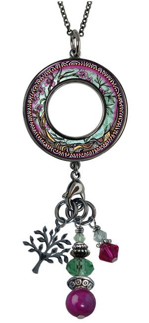 Tree of Life Fusia Reversible Beaded Open Circle Charm Pendant