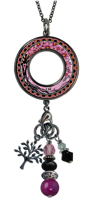 Tree of Life Pink Reversible Beaded Open Circle Charm Pendant