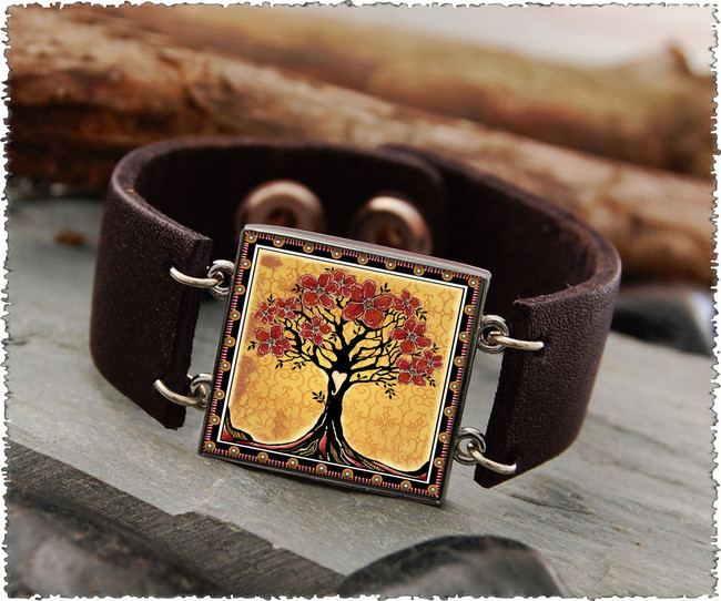 Tree of Life Yellow Double Sided Leather Cuff Bracelet