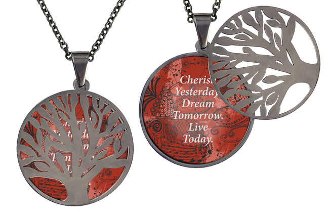 "Poetry Tree - Cherish Yesterday Dream Tomorrow Live Today Stainless Steel Tree of Life on Stainless Steel Chain. Nice Quality Substantial Weight. 28"" Regular Stainless Steel Chain"
