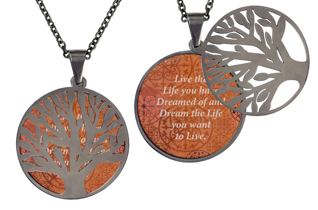 "Poetry Tree - Purple Background - Be Yourself & Love Who You Are. Stainless Steel Tree of Life on Stainless Steel Chain. Nice Quality Substantial Weight. 28"" Regular Stainless Steel Chain W- 1 1/8, H- 1 1/8, D- 1/8"" (thick)"