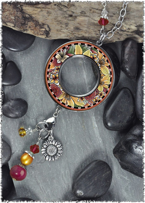 Mixed Floral Reversible Beaded Open Circle Charm Pendant