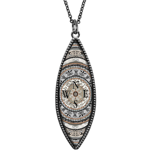 Compass Marquise Reversible Pendant